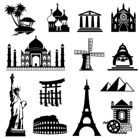 torre: conjunto de iconos en blanco y negro de los puntos de referencia Vectores