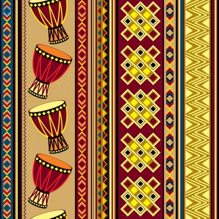 アフリカン ドラム飾りとのシームレスなベクトルの背景