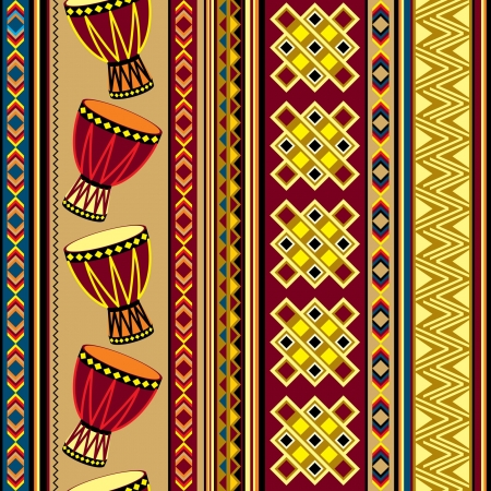 seamless vector background with african drum ornament Çizim