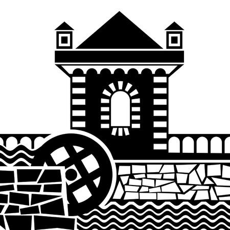 molino de agua: imágenes vectoriales de antiguo molino de agua