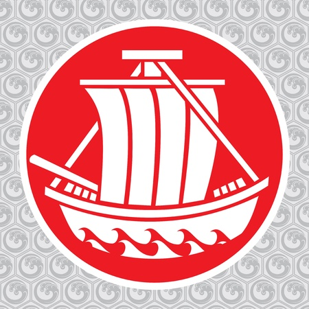 vector traditional symbol of the japanese ship