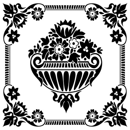 european culture: black and white classic flower  frame pattern