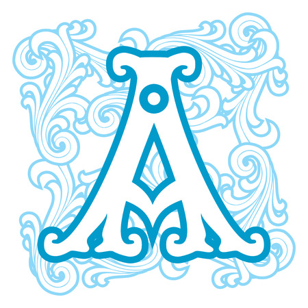 vector image of letter A in the old winter vintage style Vector
