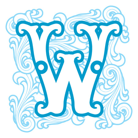 vector image of letter W in the old winter vintage style Vector