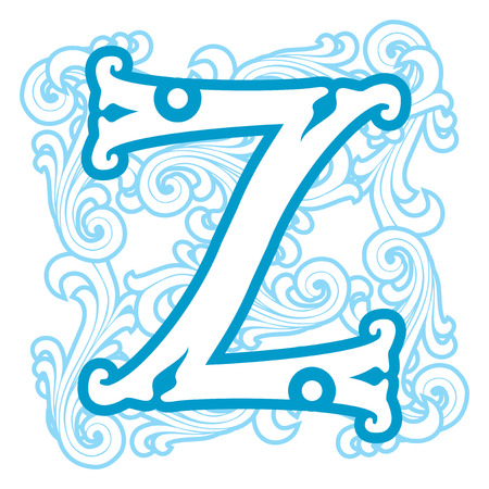 vector image of letter Z in the old winter vintage style Vector