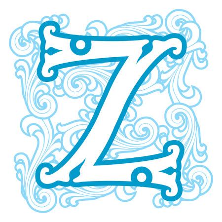 letter z: vector image of letter Z in the old winter vintage style Illustration
