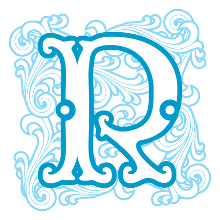 r image: vector image of letter R in the old winter vintage style