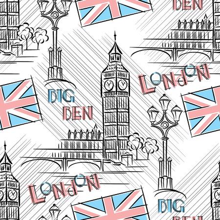 런던 빅 벤와 원활한 배경 스톡 콘텐츠 - 25468087