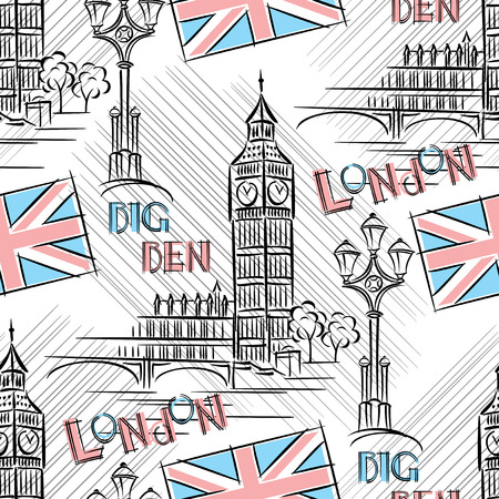 Seamless background with London s Big Ben Vector