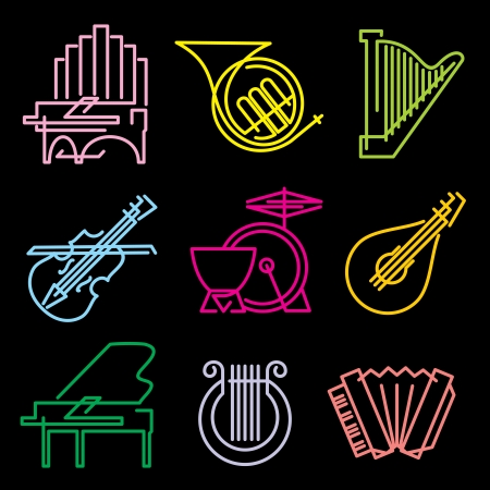 set of vector icons musical instrumen from the luminous lines  Vector