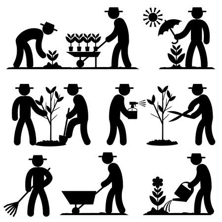 invernadero: establecidos iconos en blanco y negro de trabajo en el jardín de primavera