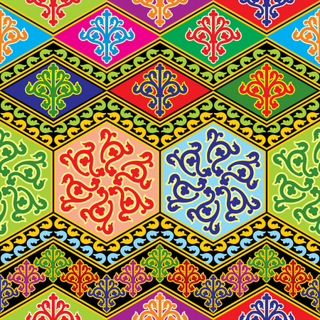 tibet: vector seamless background with color buddhist ornament