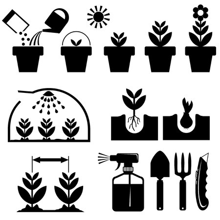 seed pots: set black and white icons for agrotechnics and growing plants Illustration