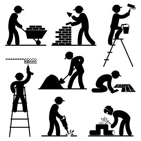 alba�il: establecidos iconos vectoriales en blanco y negro de los constructores