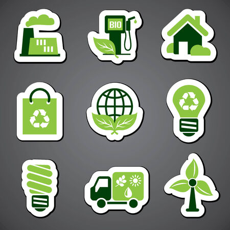 set vector icons of environmental sticker label Vector