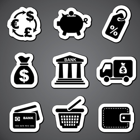 set vector black and white icons for commerce and finance Vector