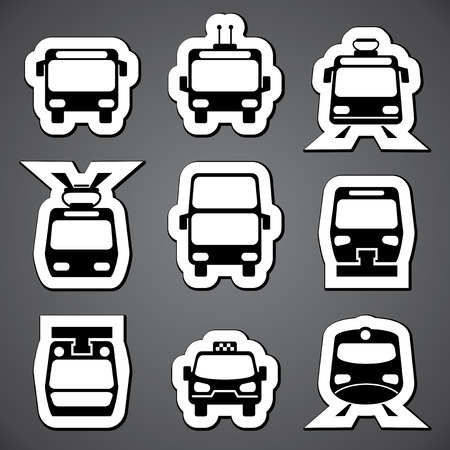 cableway: set vector black and white icons for public transport
