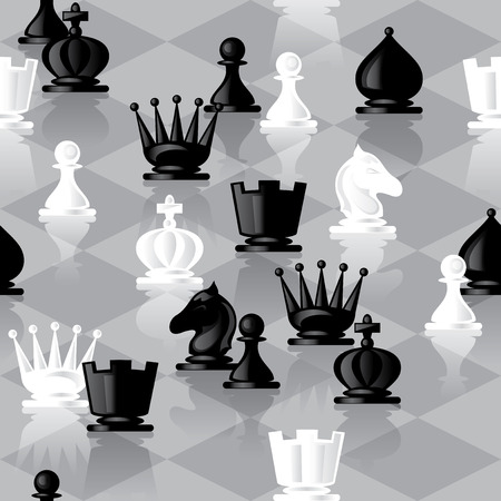 chess rook: vector seamless background with chessmen Illustration