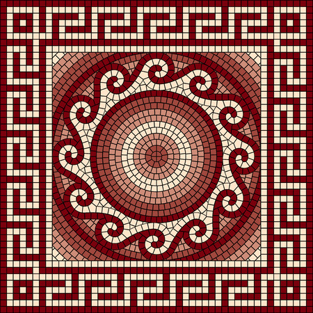 vector mosaic with classic Greek meander ornament