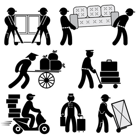 porter: set black and white icons of loader people
