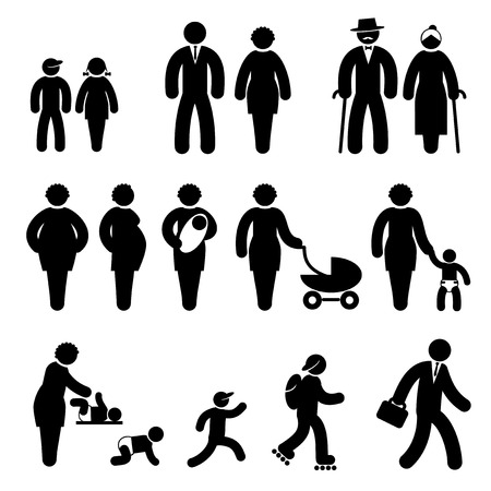 upbringing: set black and white icons of people age Illustration