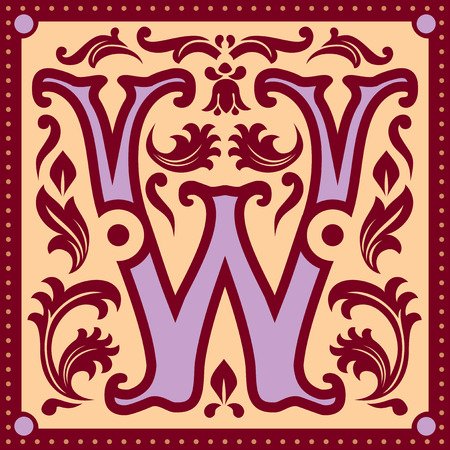abc calligraphy: image of letter W in the old vintage style
