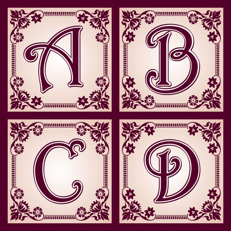 abc calligraphy: set of letters in the European vintage style