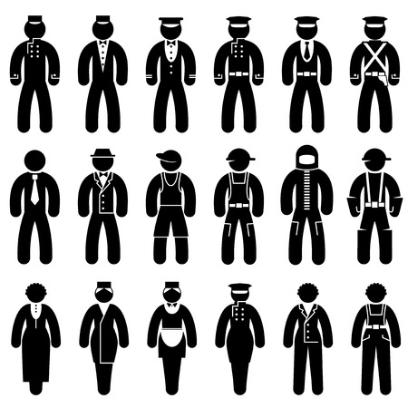 protective clothing: set black and white icons of people in uniforms