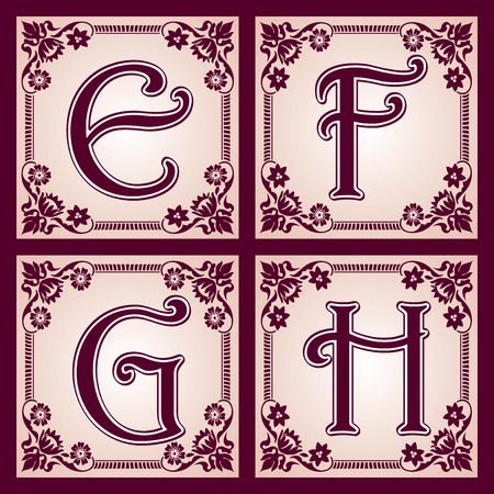set of letters in the European vintage style