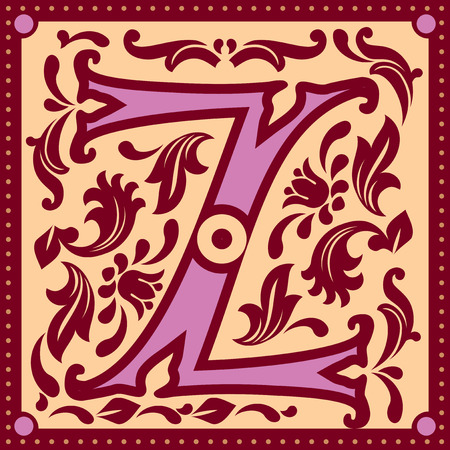 initial cap: vector image of letter Z in the old vintage style