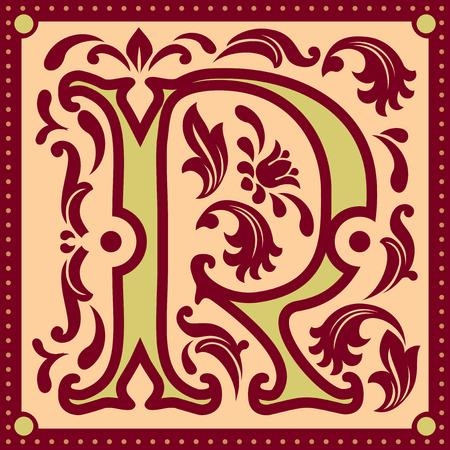 r image: immagine vettoriale di lettera R nel vecchio stile vintage