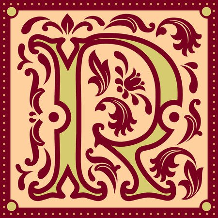 initial cap: vector image of letter R in the old vintage style