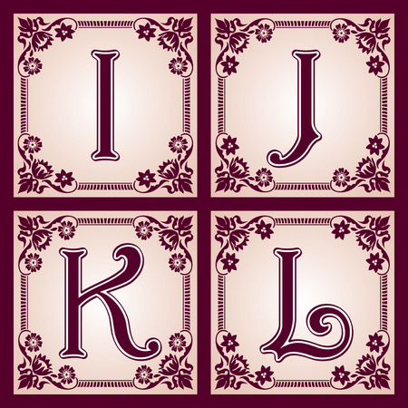 initial cap: vector set of letters in the European vintage style  Part 3
