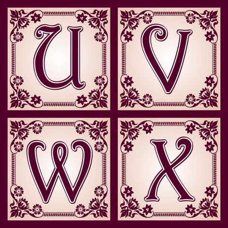 vector set of letters in the European vintage style  Part 6 Illustration