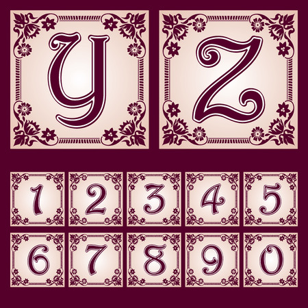 vector set of letters in the European vintage style  Part 7 Vector