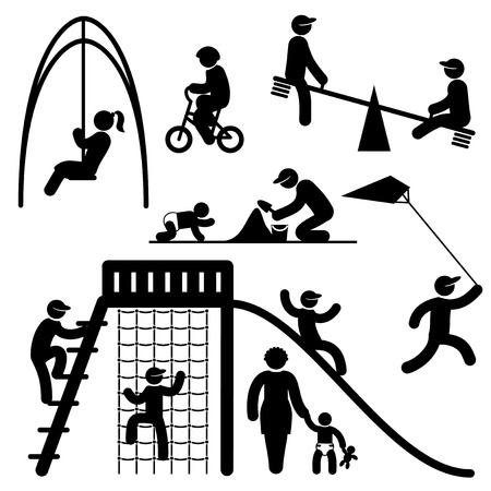 leisure activity: set black and white vector icons of people on children playground