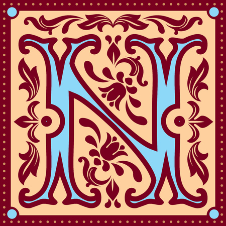 initial cap: vector image of letter N in the old vintage style
