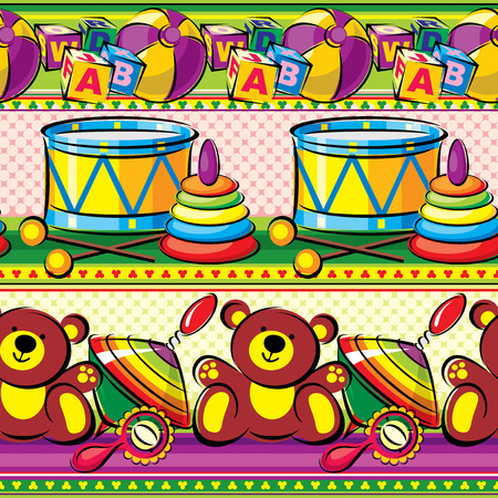 children toys on a striped background  vector seamless