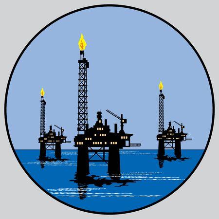 drilling platform: round emblem for petroleum platform