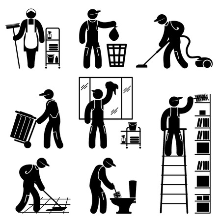 vacuum cleaning: set black and white icons of cleaner people Illustration