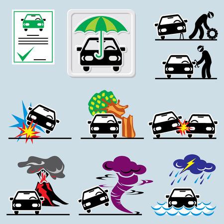 robo de autos: conjunto de iconos con símbolos de seguro de coche