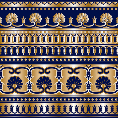 ancient greek: seamless pattern with gold Greek ornaments Illustration