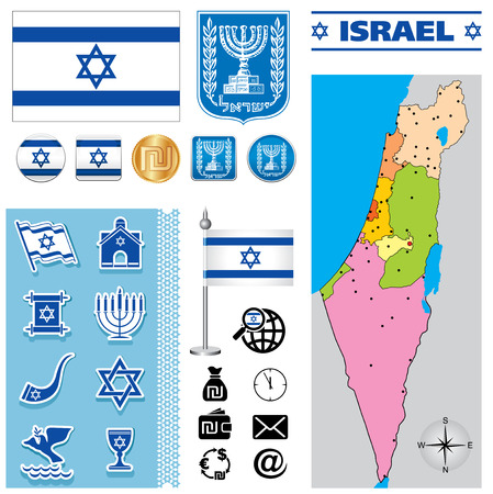 Vector map of Israel with a set of signs and symbols