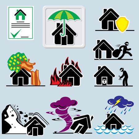 Ensemble d'icônes vectorielles avec assurance symboles de la maison Vecteurs
