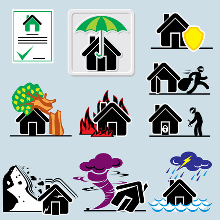 conflagration: set of vector icons with symbols home insurance