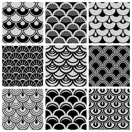 squama: Set of seamless patterns with  texture of  scales Illustration