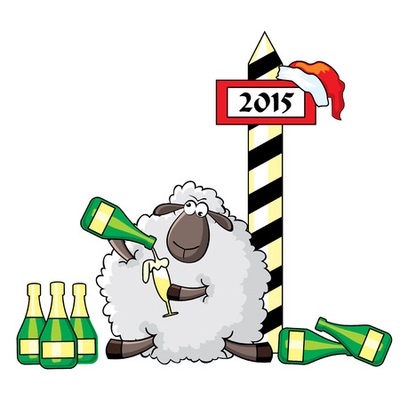 Vector humorous illustration. Sheep celebrates new year Vector