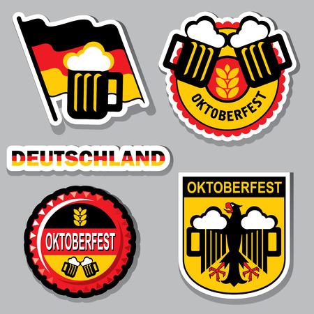 german beer: set images for label and emblem oktoberfest Illustration