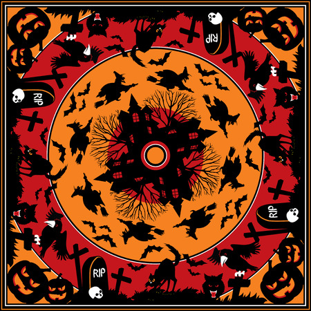 vector square ornament with halloween image Vector