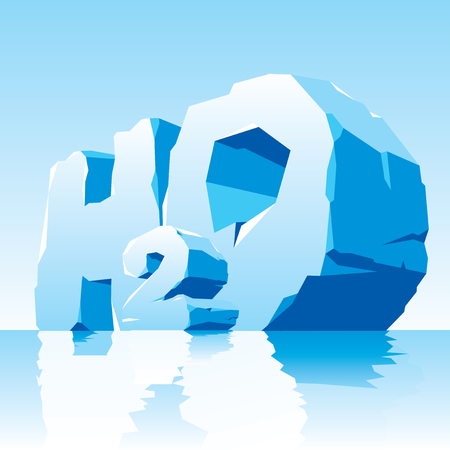 cleft: illustration of water simbol. Frozen letter H2O